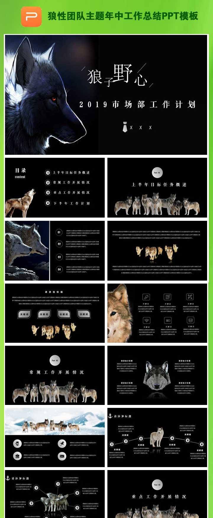 狼性团队主题年中工作总结PPT模板