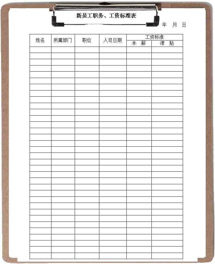 新员工职务工资标准表word模板
